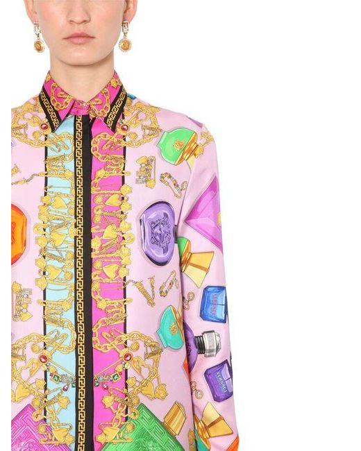 Versace Perfume シルクサテンシャツ Multicolor