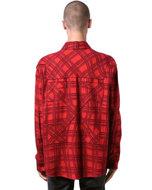 Рубашка Из Хлопковой Фланели Оверсайз Off-White c/o Virgil Abloh для него, цвет: Red