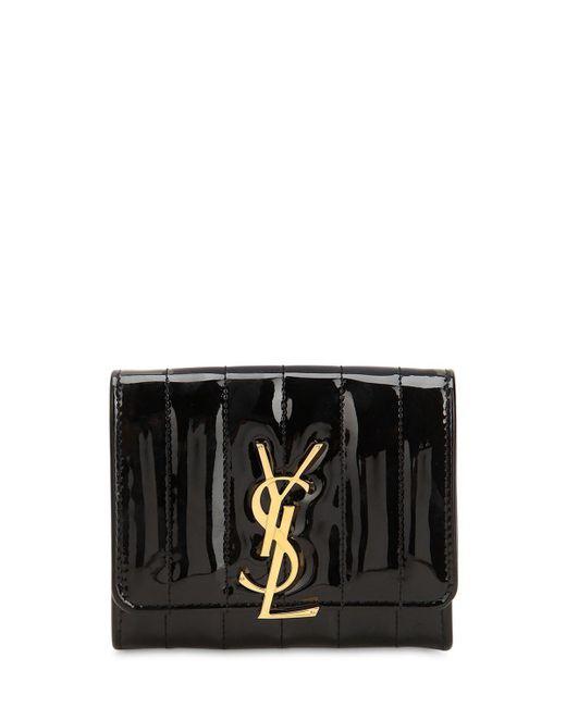 1cccdd0e99 Saint Laurent - Black Small Viky Leather Flap Wallet - Lyst ...