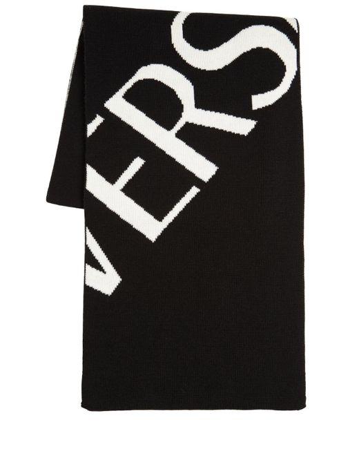 Versace ジャガードウールマフラー Black
