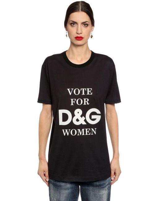 Dolce gabbana d g women printed cotton jersey t shirt in for Dolce gabbana t shirt women