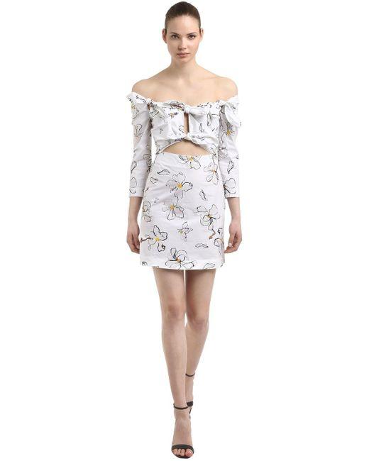 Isa Arfen Floral ミニドレス White