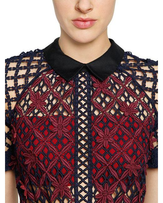 red black floral lyst self portrait floral grid lace midi dress in red