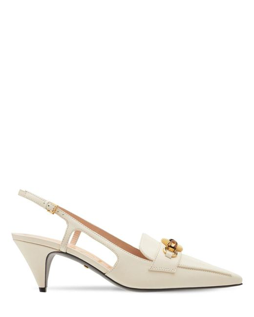Туфли Из Кожи С Бамбуком 55мм Gucci, цвет: White