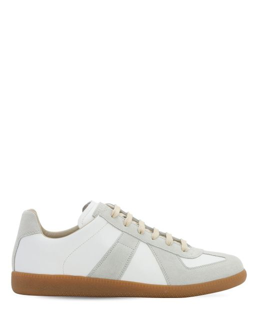 Maison Margiela White Replica Leather & Suede Low Top Sneakers for men