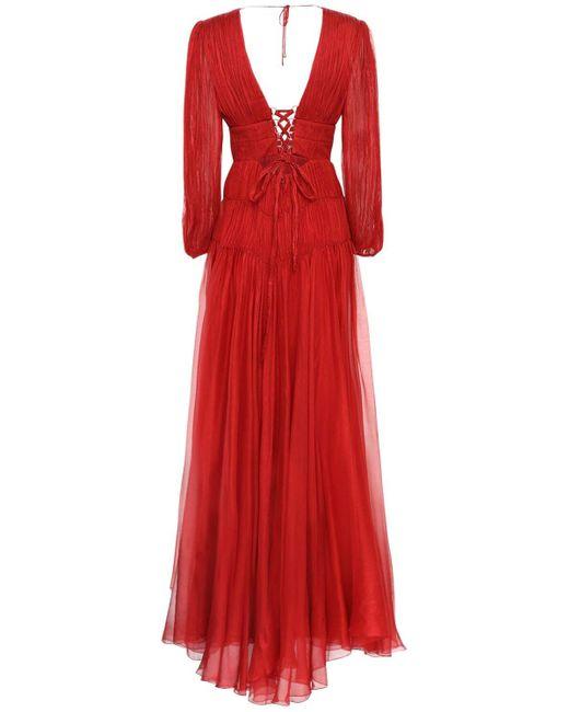 Maria Lucia Hohan Dania メタリックシルクドレス Red