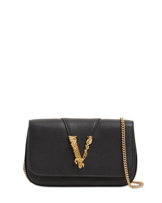 Versace キルトレザーショルダーバッグ Black