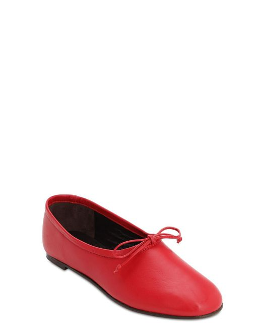 By Far Agnes レザー バレリーナシューズ 10mm Red