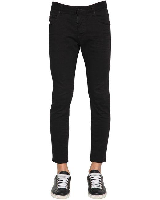 メンズ DSquared² 16cm Skater コットンデニムジーンズ Black