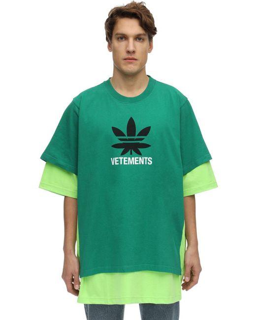 メンズ Vetements オーバーサイズダブルコットンtシャツ Green