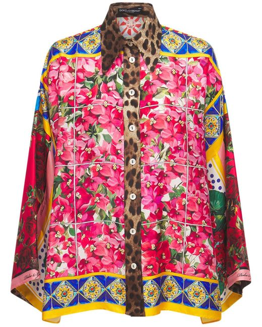 Dolce & Gabbana プリントシルクツイルシャツ Multicolor