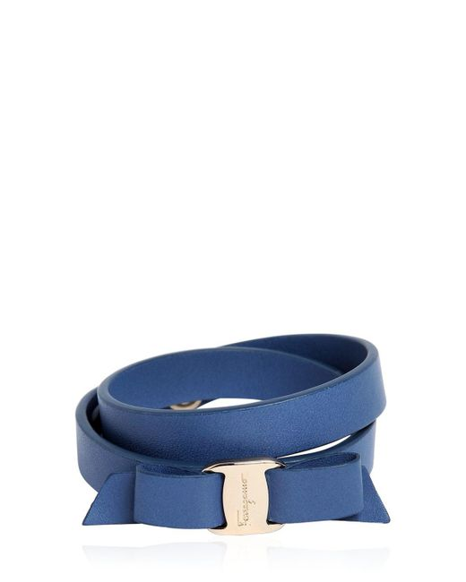 Ferragamo | Blue Doubled Leather Bracelet W/ Bow | Lyst
