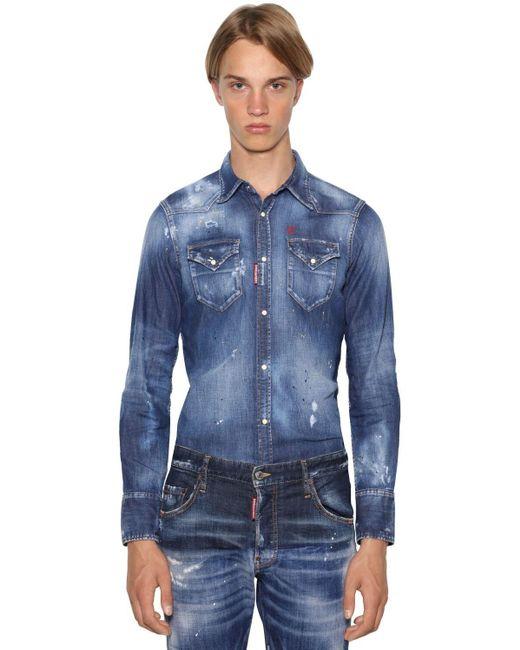 メンズ DSquared² Classic Fitストレッチコットンデニムシャツ Blue