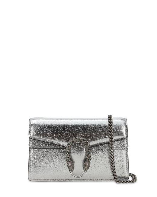 Gucci Dionysus Super Mini レザーショルダーバッグ Metallic
