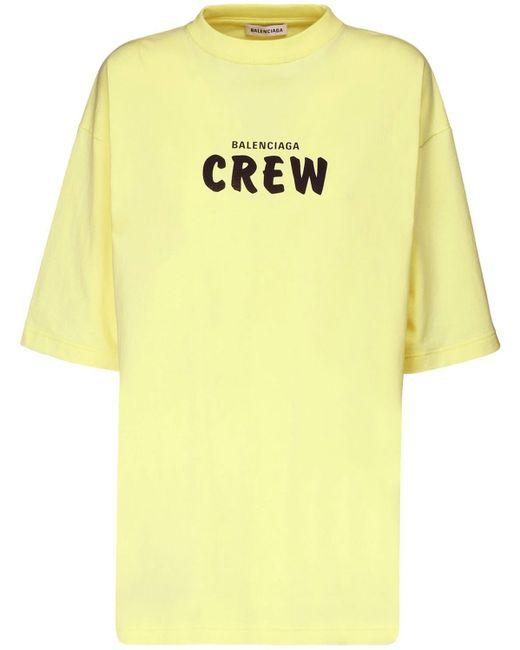 Футболка Из Хлопкового Джерси С Принтом Balenciaga, цвет: Yellow