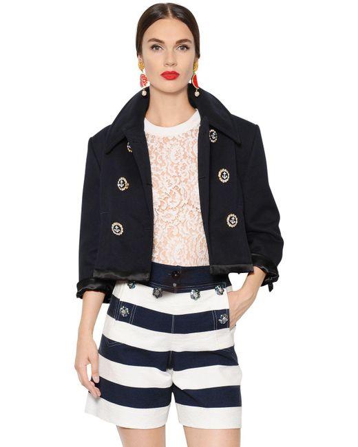 Dolce & Gabbana | Blue Swarovski Buttons Cotton Piqué Jacket | Lyst