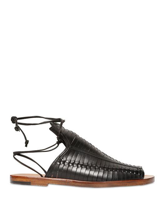Daniele Michetti | Black Woven Leather Sandals | Lyst