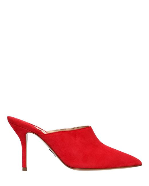 Paul Andrew - Red 85mm Suede Mules - Lyst