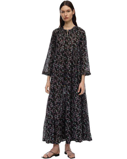 Yvonne S Black Hippy Cotton Voile Maxi Dress