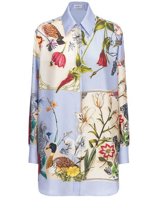 Рубашка Из Шёлковой Саржи С Принтом Ferragamo, цвет: Multicolor