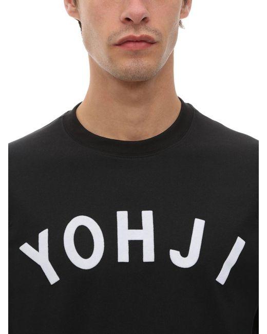 メンズ Y-3 Yohji コットンジャージー ロングtシャツ Black