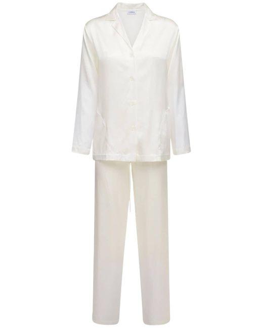 La Perla シルクサテンパジャマシャツ&パンツ White
