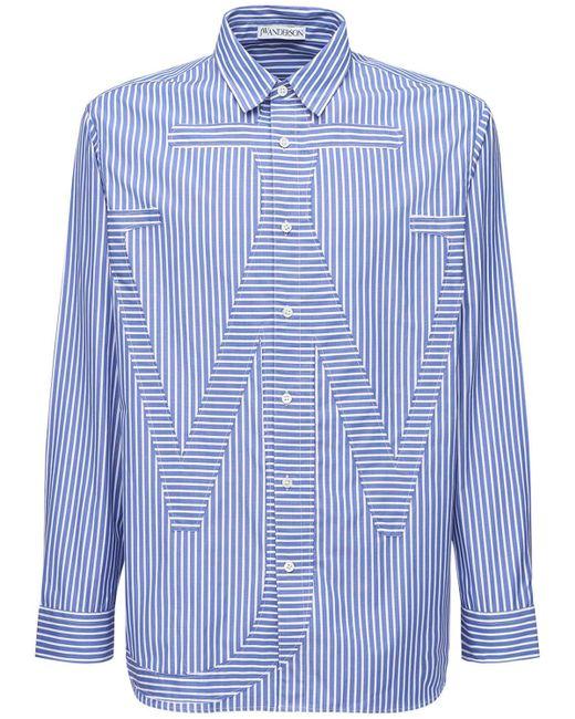 メンズ J.W. Anderson コットンポプリンシャツ Blue