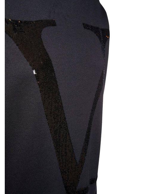 Valentino オーバーサイズスパンコールジャージーフーディー Black