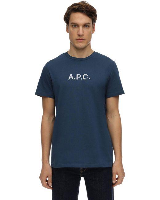メンズ A.P.C. コットンジャージーtシャツ Blue