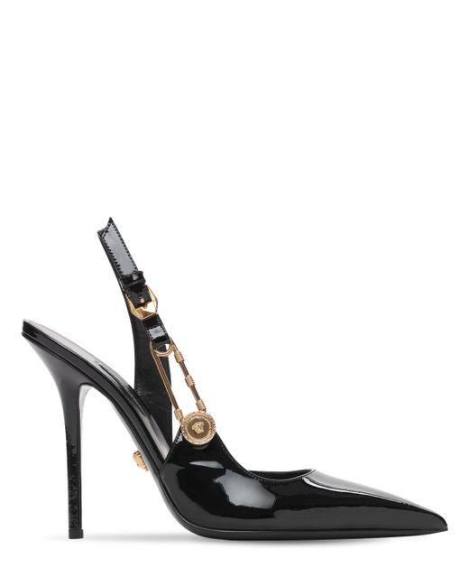 Туфли Из Лакированной Кожи 110mm Versace, цвет: Black