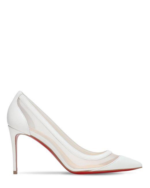 Туфли Из Кожи И Сетки Меш 85мм Christian Louboutin, цвет: White