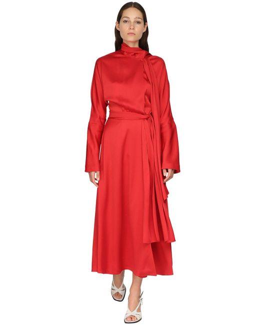 Sies Marjan サテンクレープドレス Red