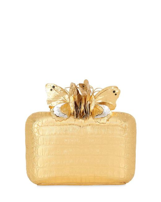 Nancy Gonzalez | Metallic Butterfly Box Caiman Clutch | Lyst