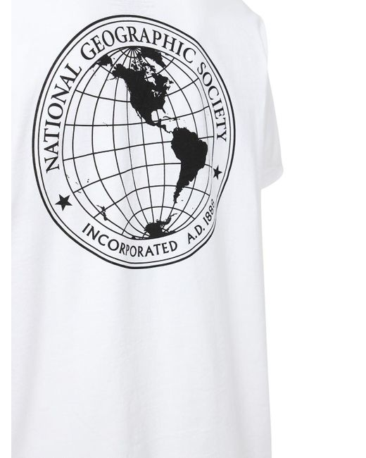"""T-shirt """"national Geographic"""" In Jersey di Vans in White da Uomo"""