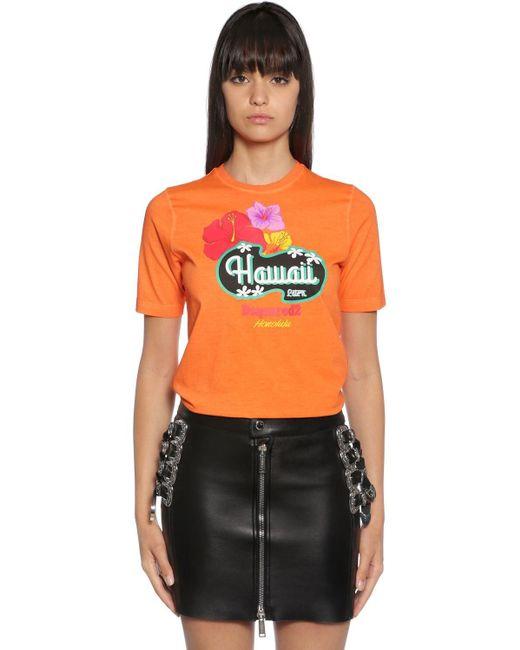 DSquared² Hawaii コットンジャージーtシャツ Orange