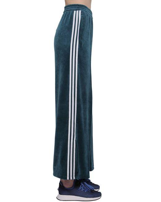 Adidas Originals ベルベットトラックパンツ Blue