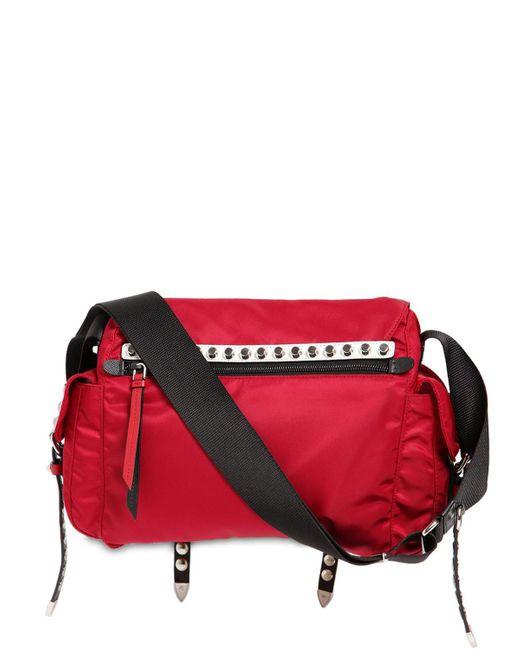... Prada - Red Nylon Canvas Shoulder Bag - Lyst ... 781405d1a293c