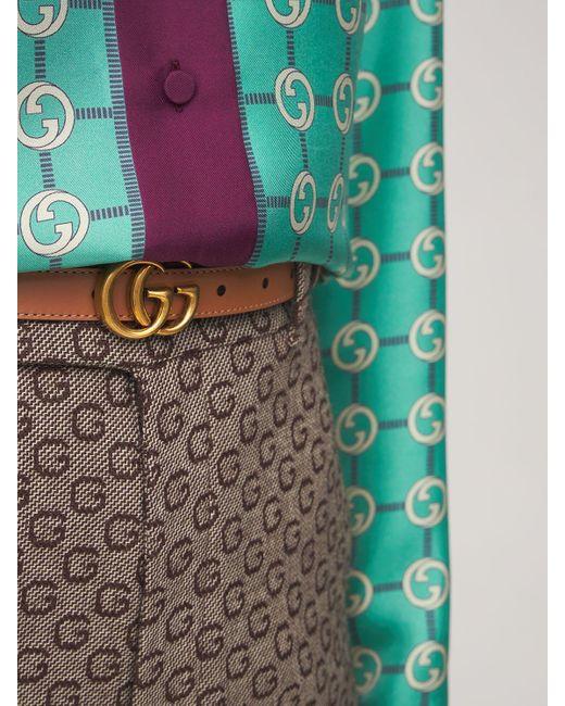 Gucci Gg Marmont レザーベルト 2cm Brown