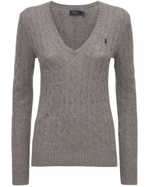 """Polo Ralph Lauren Gray Sweater Aus Wolle Und Kaschmir """"kimberly"""""""