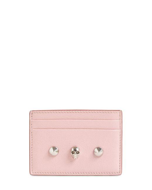 Porta Carte Di Credito In Pelle di Alexander McQueen in Pink