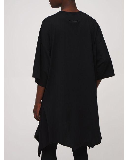 MM6 by Maison Martin Margiela ダブルtシャツジャージーミニドレス Black