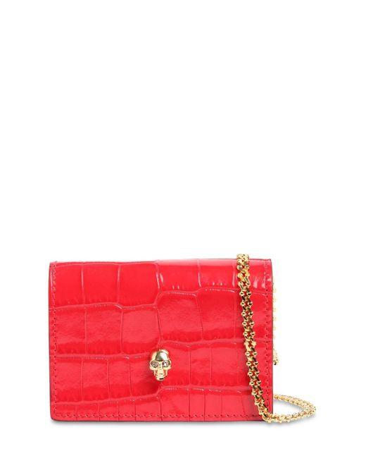 Кожаный Кошелёк С Крокодиловым Тиснением Alexander McQueen, цвет: Red