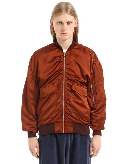 Etudes Studio - Brown Silk Satin Bomber Jacket for Men - Lyst