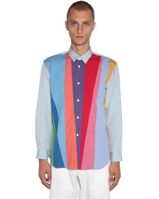 メンズ Comme des Garçons パッチワークコットンポプリンシャツ Blue