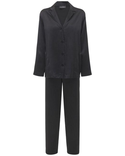La Perla シルクサテン パジャマシャツ&パンツ Black