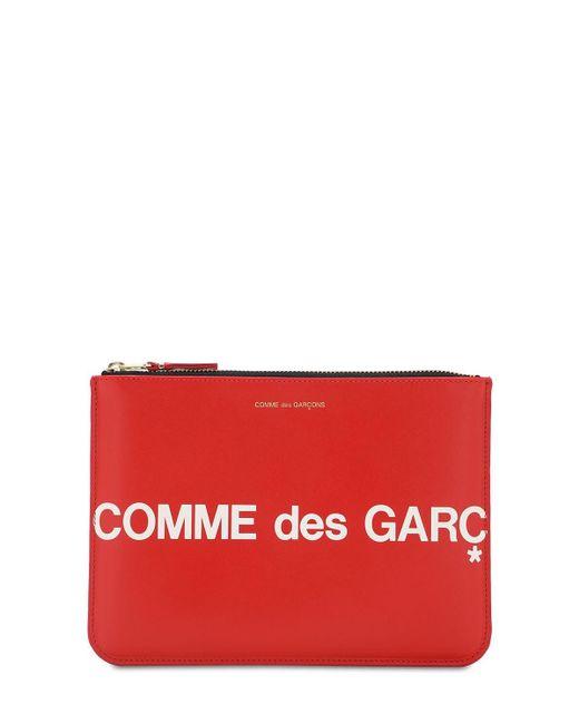 Comme des Garçons Huge Logo レザーポーチ Red