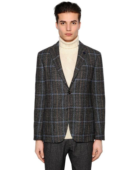 Lardini | Gray Exclusive Prince Of Wales Wool Jacket for Men | Lyst