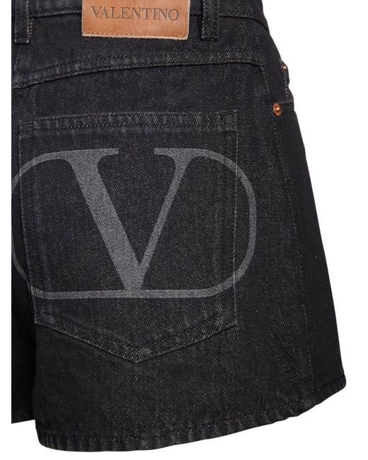 Valentino Go Logo コットンデニムショートパンツ Black