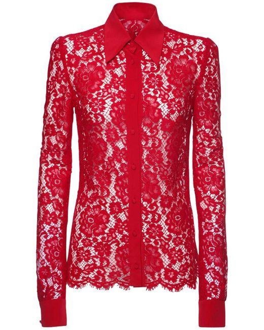 Dolce & Gabbana レース&クレープデシンシアーシャツ Red