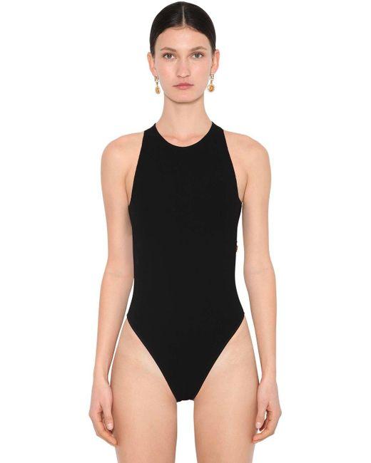 Versace Black Stretch Jersey Bodysuit W/ Gold Chain